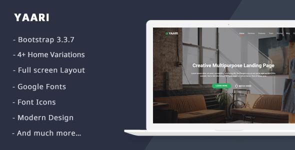 Yaari – Responsive Landing page Template (Landing Pages)