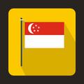 Flag of Singapore icon, flat style