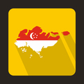 Map of Singapore with flag icon, flat style