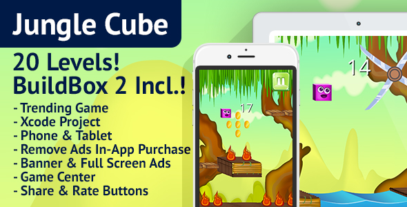 Jungle Cube: iOS, Easy Reskin, AdMob, Remove Ads, BuildBox Included