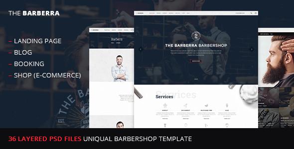 Barberra –barbershop PSD template