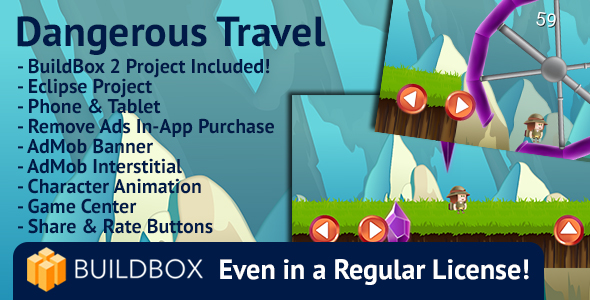 Dangerous Travel: Android, Easy Reskin, AdMob, Remove Ads, BuildBox Included - CodeCanyon Item for Sale