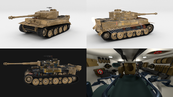 Panzer Tiger Tank Early with interior - 3DOcean Item for Sale
