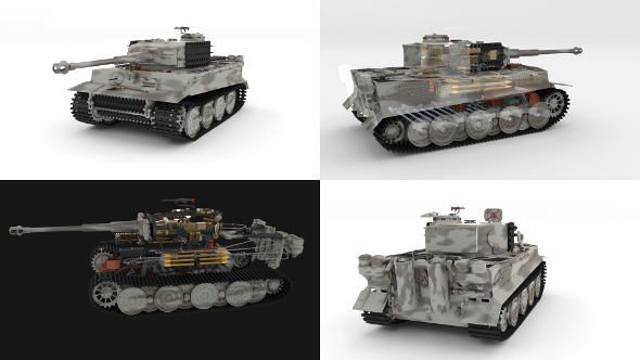 Panzer Tiger Tank Late 1944 v3 with interior - 3DOcean Item for Sale