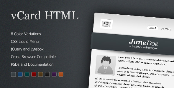ThemeForest vCard Professional Template 8 Color 70611
