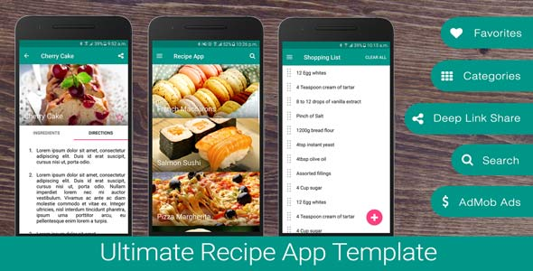 CodeCanyon Ultimate Recipe App Template 18368255