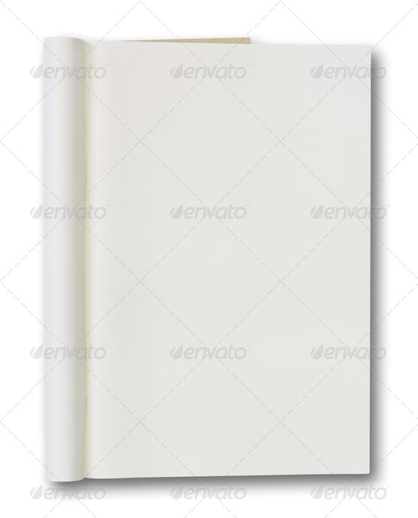 Opened book with blank pages isolated over white background - Stock Photo - Images