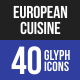 European Cuisine Glyph Icons