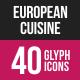 European Cuisine Glyph Inverted Icons