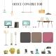 Modern Office Accessories Cartoon Icons Set