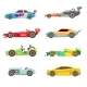 Sport Racing Car Flat Vector Icons Isolated