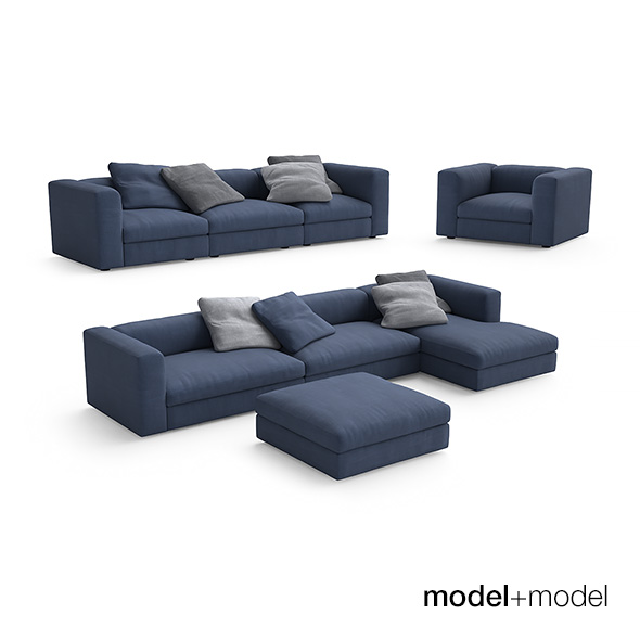 Poliform Dune sofas and armchair - 3DOcean Item for Sale