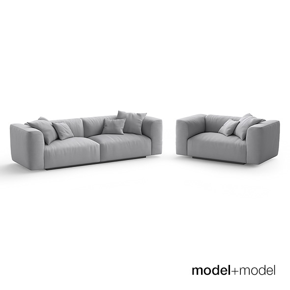 MDF Italia Mate Sofa and armchair - 3DOcean Item for Sale