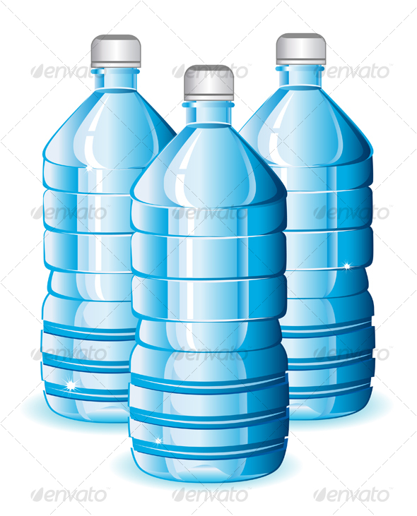 Isolated blue bottles of clean water
