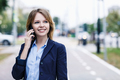 Young businesswoman speak on the phone