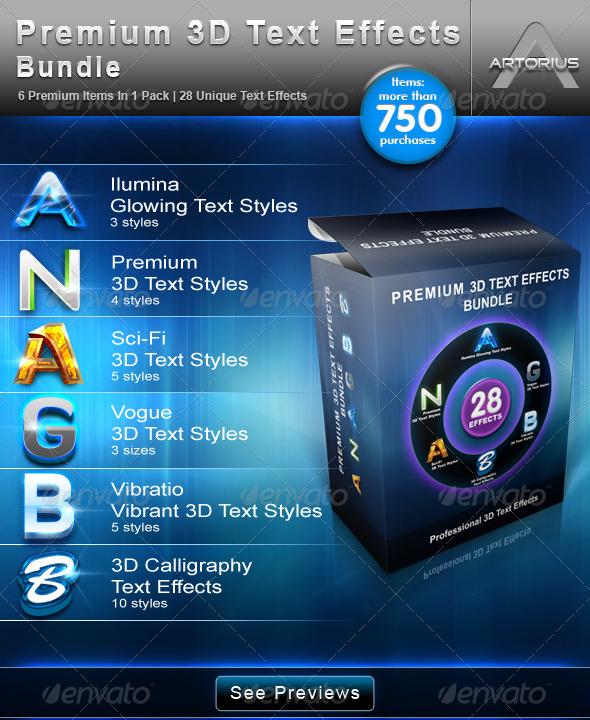 GraphicRiver Premium 3D Text Effects Bundle 213782