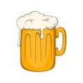 Mug with beer icon, cartoon style