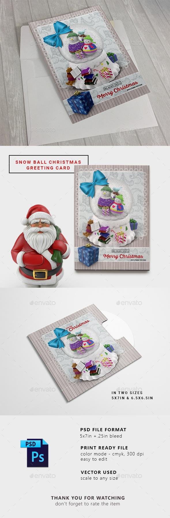 Snow Ball Christmas Greeting Card