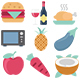 110 Food Color Vector Icons Pack