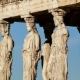 Marble Statues Of Ancient Caryatids In Acropolis Motion