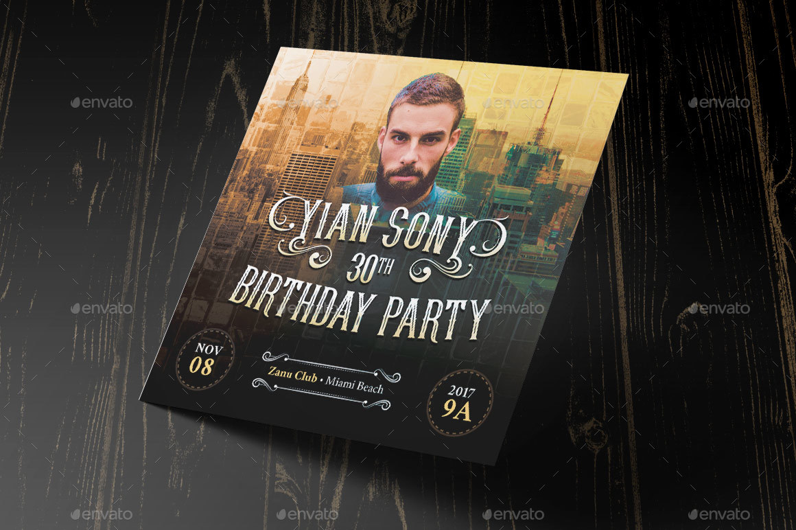 Hipster Small Birthday Party Flyer Template by Godserv2 – Party Flyer Template