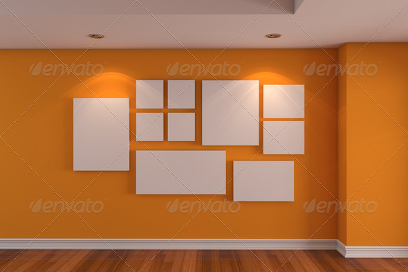 empty interior gallery room orange color wall with wood floor ...