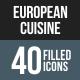 European Cuisine Flat Round Corner Icons