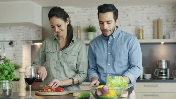VideoHive Young Couple Prepares Food on the Kitchen They are Cutting Vegetables and Talking 19245430