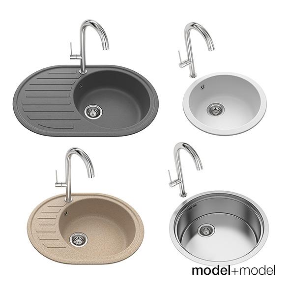 Round kitchen sinks - 3DOcean Item for Sale