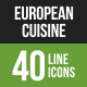 European Cuisine Line Green & Black Icons