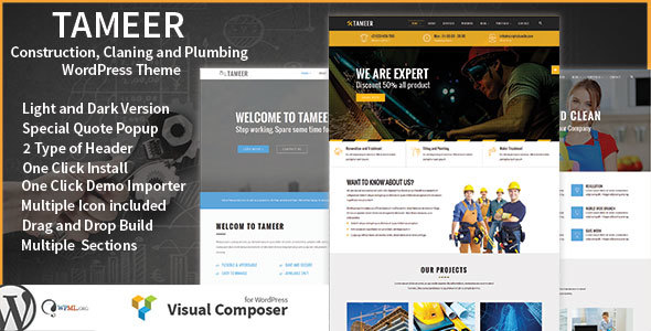 Tameer Construction / Cleaning / Plumbing Multipurpose WordPress Theme