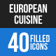 European Cuisine Blue & Black Icons