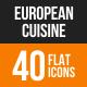 European Cuisine Flat Round Icons