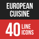 European Cuisine Filled Line Icons