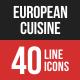 European Cuisine Filled Line Icons