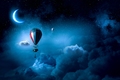 Air balloons in evening sky . Mixed media
