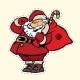 Funny Santa Claus Sticker Label