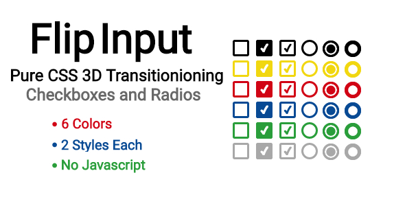 FlipInput: Pure CSS 3D Flipping Checkboxes and Radios