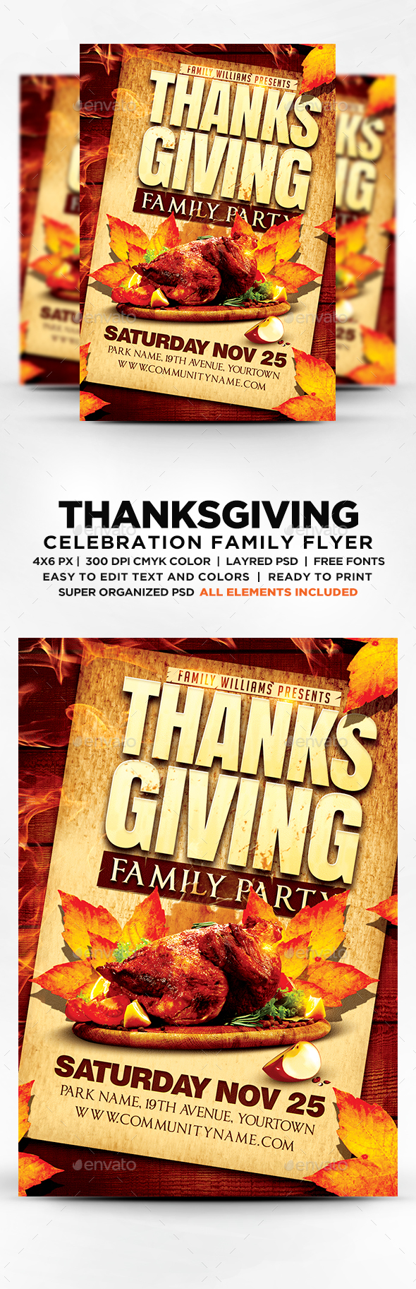 Thanksgiving Family Party Flyer