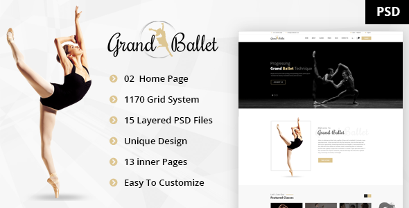 Grand Ballet - Creative Ballet PSD Template
