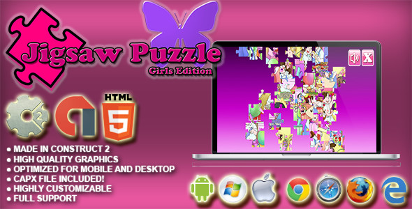 Download Jigsaw Puzzle : Girls Edition HTML5 Skill Game - AdMob - Construct 2 CAPX
