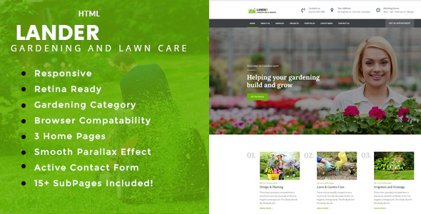Lander - Gardening and Landscaping HTML Template