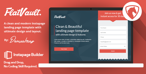Download Flatvault - Instapage Landing Page Template nulled download