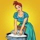 Retro Woman Laundress To Wash Clothes