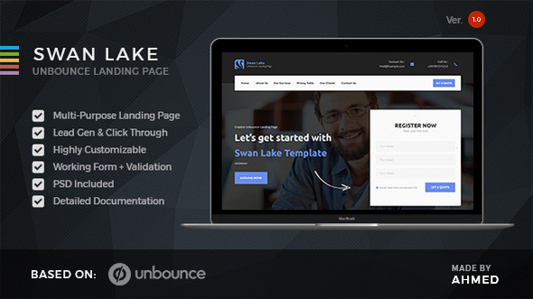 Download Swan Lake - Marketing Unbounce Template nulled download