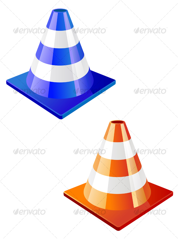 Traffic cone in two colors - Objects Vectors