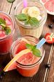 Grapefruit strawberry and banana smoothie