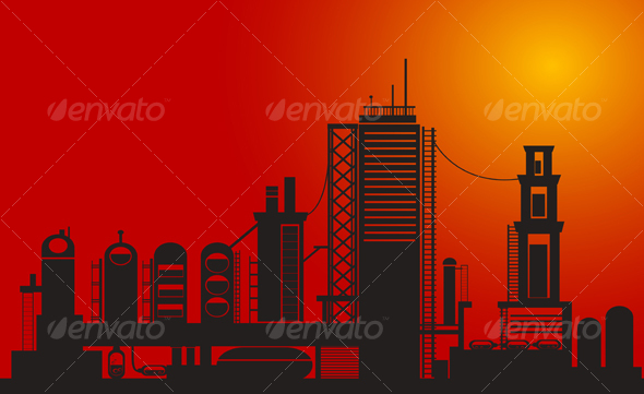 Silhouette of chemical factory - Industries Business
