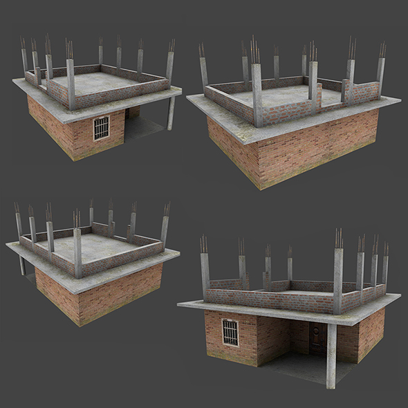 Incomplete Low Poly House with Texture - 3DOcean Item for Sale