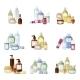 Cosmetics Bottles Vector Illustration.